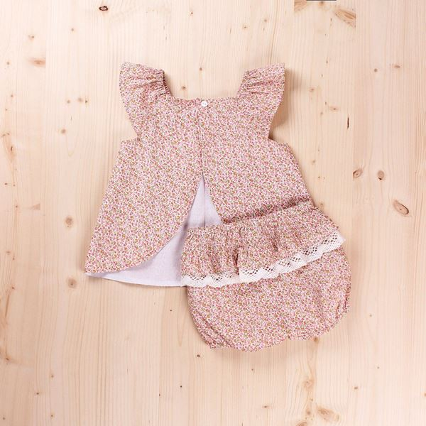 Picture of Vestido bebé con puntilla y braguita