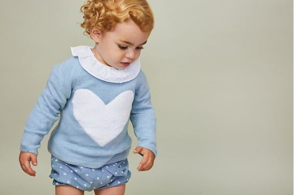 Picture of JERSEY BEBE AZUL CON CORAZON EN BLANCO