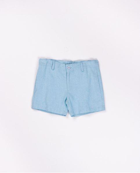 Image de Pantalon corto de lino turquesa