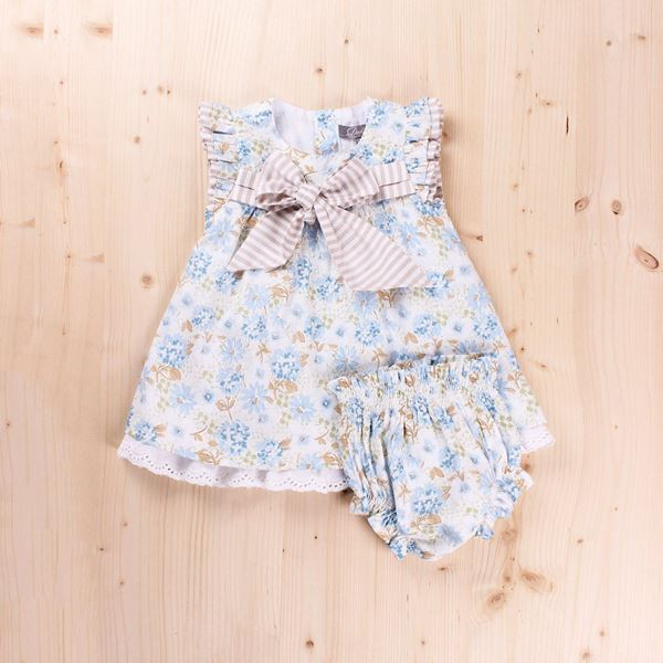 Imagen de Vestido Bebé Petunia lazo pecho y braguita