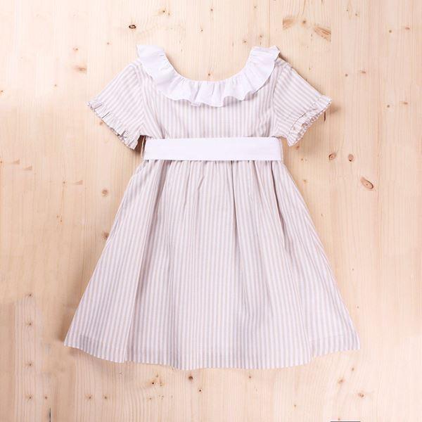 Image de Vestido Junior  rayas volante blanco