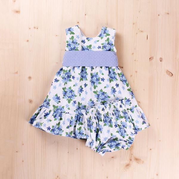 Picture of Vestido bebé dobby flores y lazo, con braguita