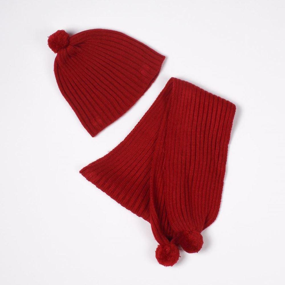 Image de Gorro y bufanda rojo