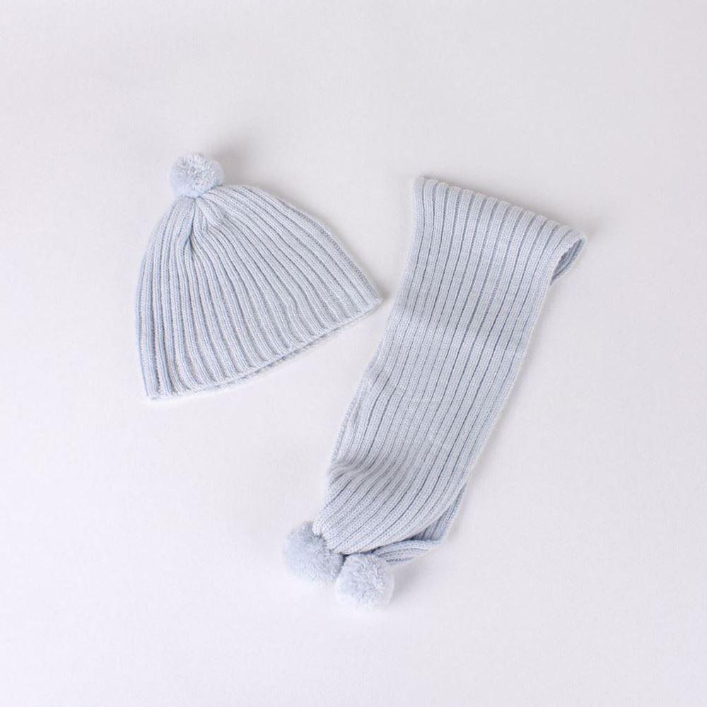 Imagen de Gorro y bufanda azul grisaceo