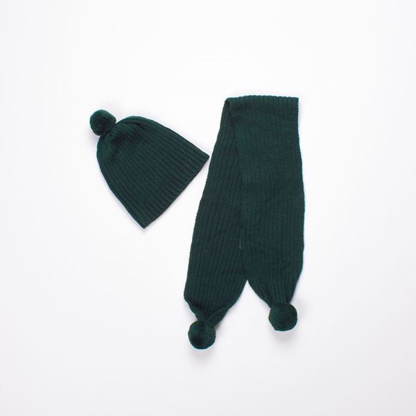 Picture of Gorro y bufanda verde
