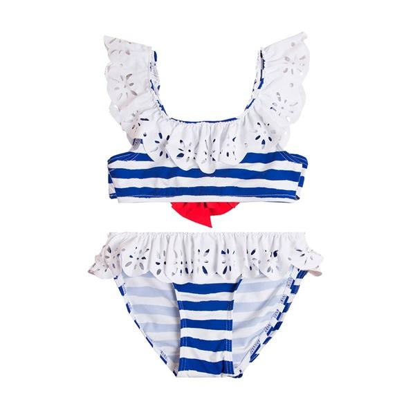 Image de Bikini de niña con rayas marineras y lazo