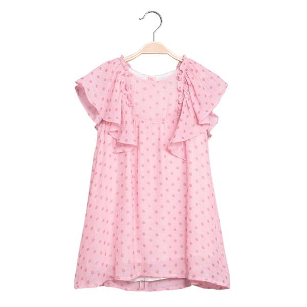 Image de Vestido de niña en rosa con volantes