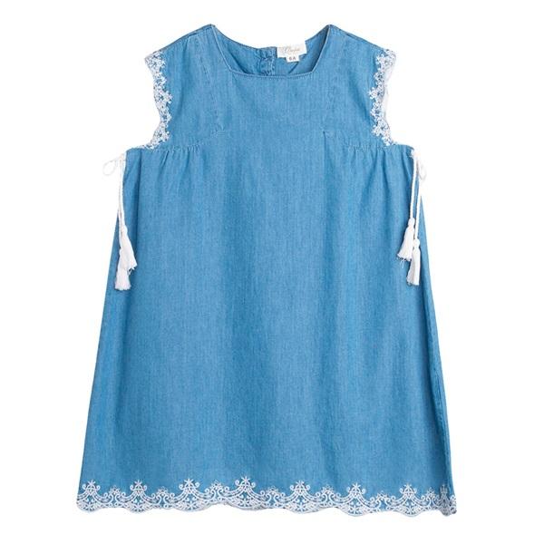 Image de Vestido de niña en denim bordado