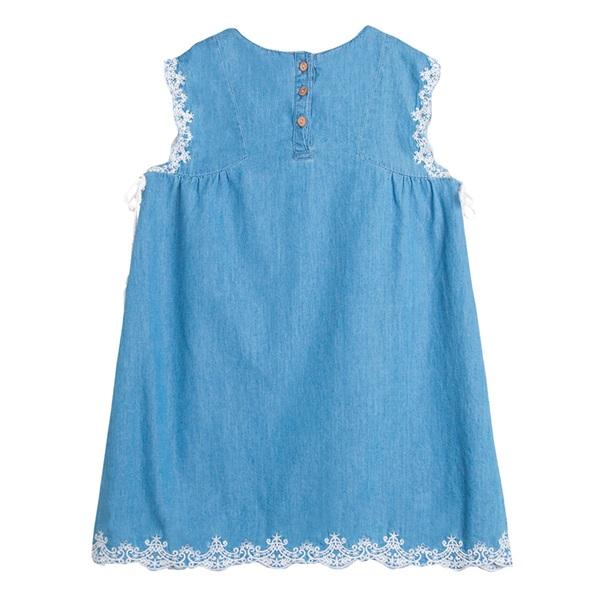 Picture of Vestido de niña en denim bordado