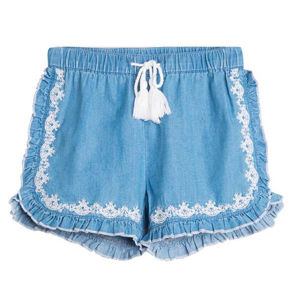 Image de Short de niña en denim bordado