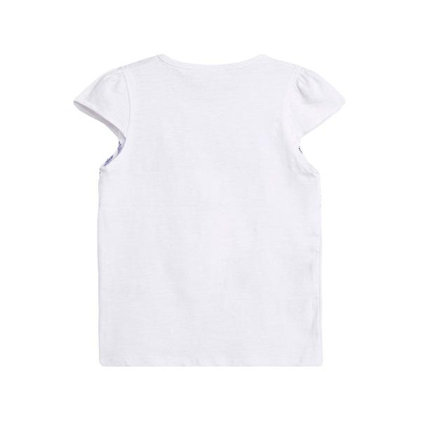 Image de Camiseta de niña en blanco con print rayas marineras