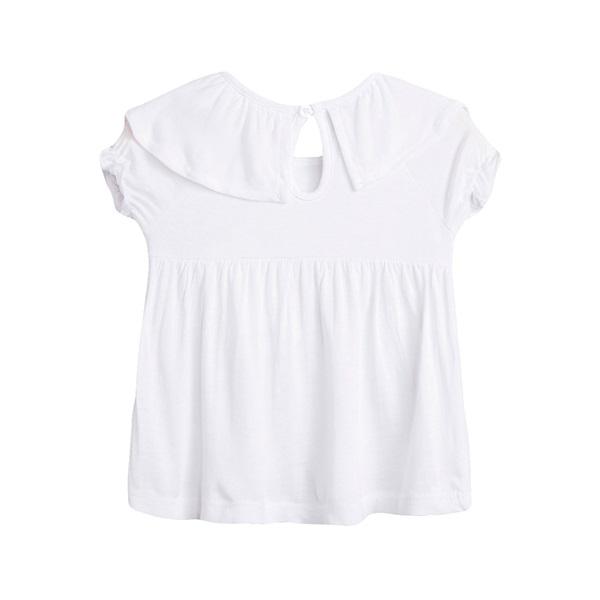 Image de Camiseta de bebé niña en blanco con volante