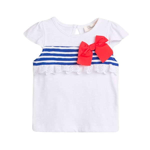 Picture of Camiseta de bebé niña en blanco con print de rayas marineras