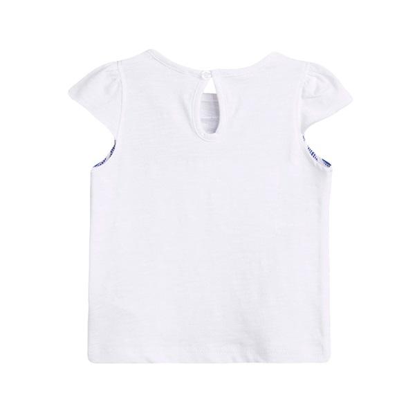 Image de Camiseta de bebé niña en blanco con print de rayas marineras