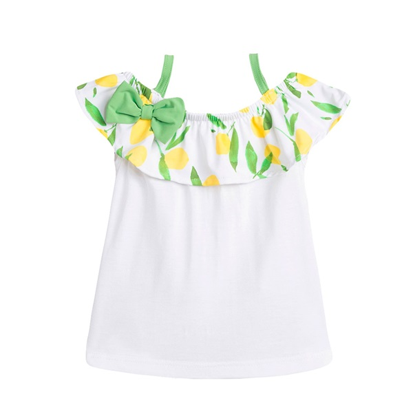 Picture of Camiseta de bebé niña en blanco con volante estampado