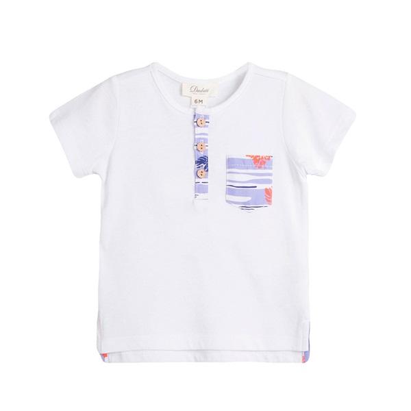 Image de Camiseta de bebé niño en blanco con detalle bolsillo