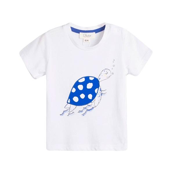 Image de Camiseta de bebé niño en blanco con print tortuga