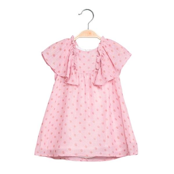 Image de Vestido de bebé niña rosa con topos