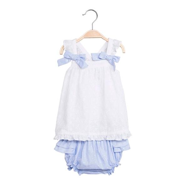 Image de Vestido de bebé niña en blanco y azul con braguita