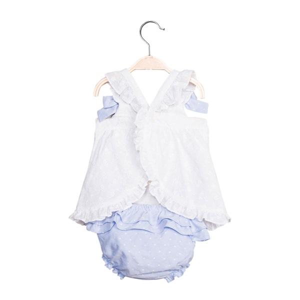 Picture of Vestido de bebé niña en blanco y azul con braguita