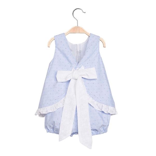 Image de Vestido de bebé niña en azul claro con pololo