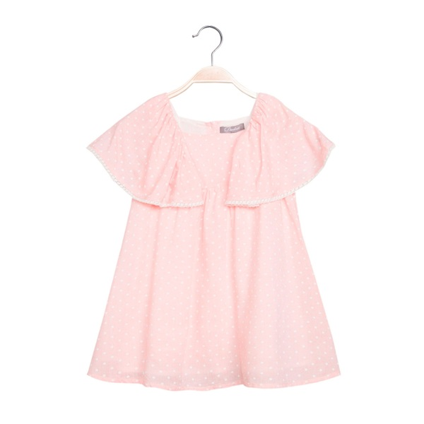 Image de Vestido de niña en rosa claro con topos