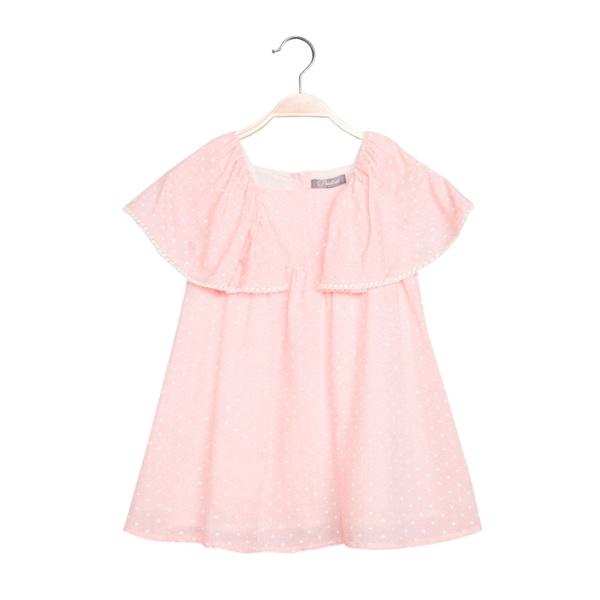 Picture of Vestido de niña en rosa claro con topos