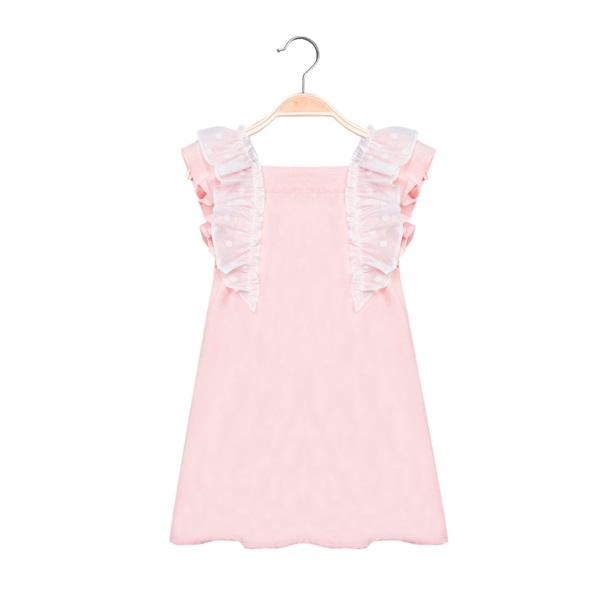 Picture of Vestido de niña en rosa claro con volantes