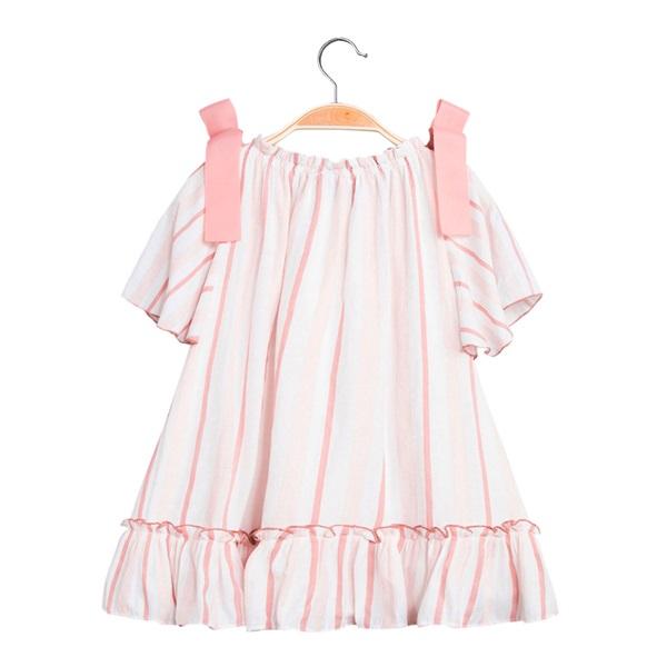 Picture of Vestido de niña de rayas con lazos