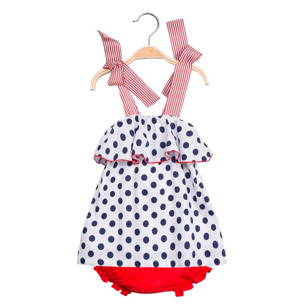 Image de Vestido de bebé niña de lunares con braguita
