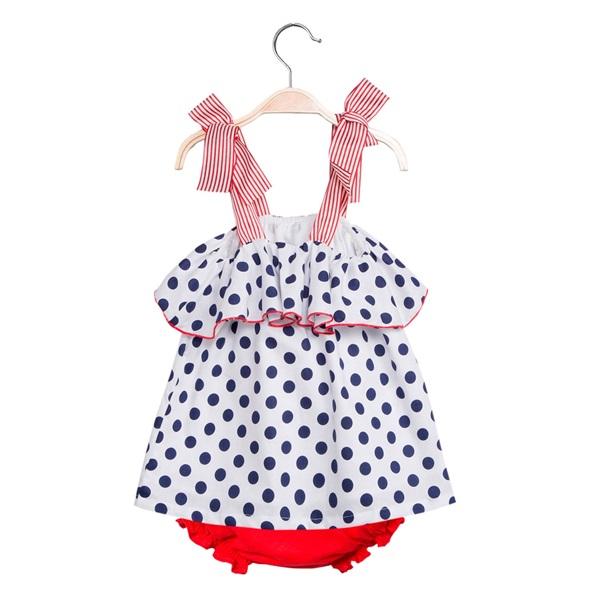 Picture of Vestido de bebé niña de lunares con braguita