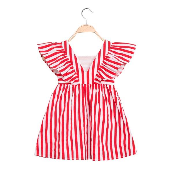 Image de Vestido de niña de rayas rojas con volantes