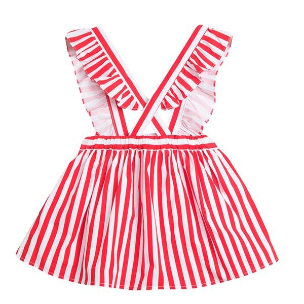 Picture of Falda de niña de rayas rojas con tirantes