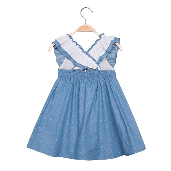 Imagen de Vestido de niña en azul con topos y volantes