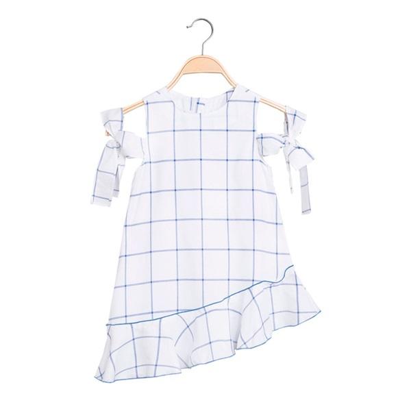 Image de Vestido de niña asimétrico de cuadros azules
