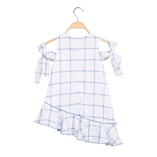Imagen de Vestido de niña asimétrico de cuadros azules