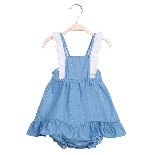 Image de Vestido de bebé niña en azul con topos y braguita