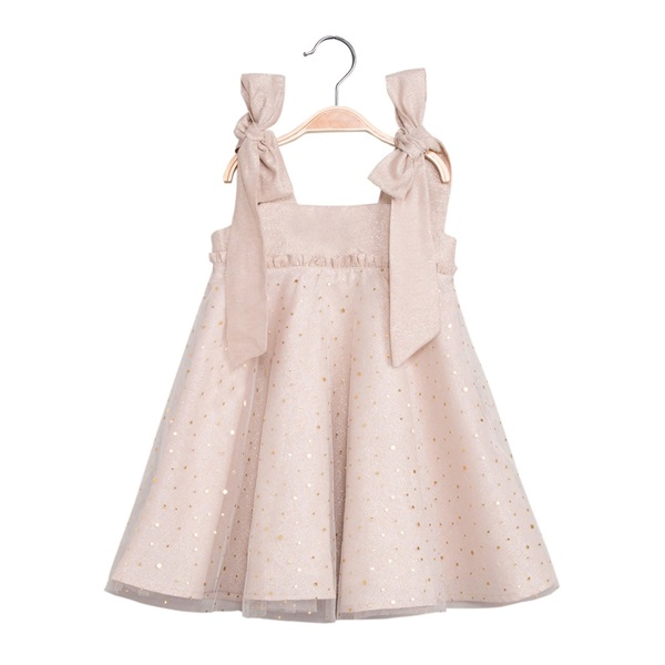 Image de Vestido de niña en color arena y brillo