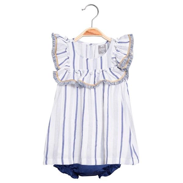 Image de Vestido de bebé niña de rayas azules con braguita