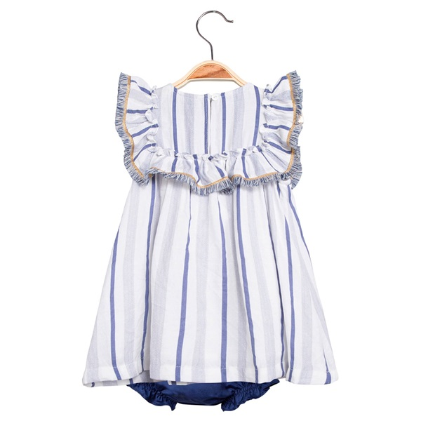 Picture of Vestido de bebé niña de rayas azules con braguita