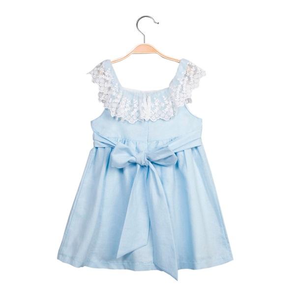 Picture of Vestido de niña en azul claro con encaje
