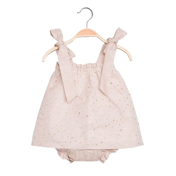 Image de Vestido de bebé niña en color arena con braguita