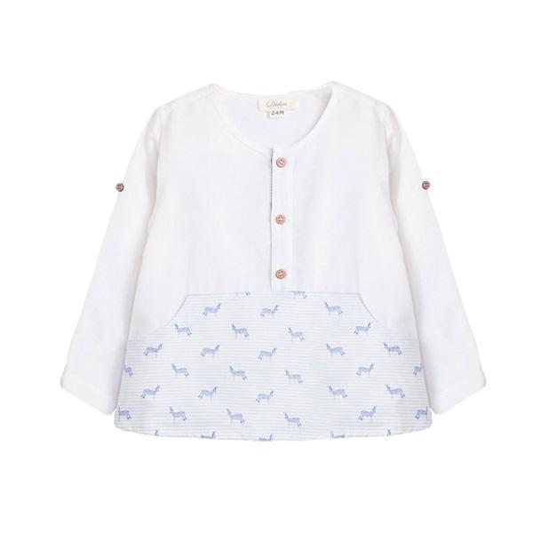 Image de Camisa de bebé niño con estampado de cebras y manga larga