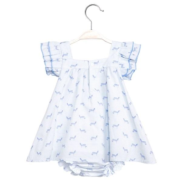 Picture of Vestido de bebé niña con estampado de cebras y braguita