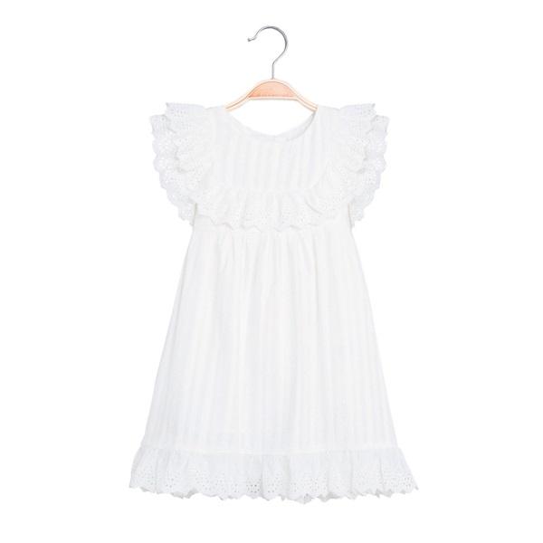Image de Vestido de niña con rayas blancas y volantes