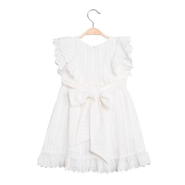 Picture of Vestido de niña con rayas blancas y volantes