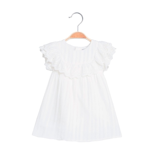 Image de Vestido de bebé niña con rayas blancas y volantes