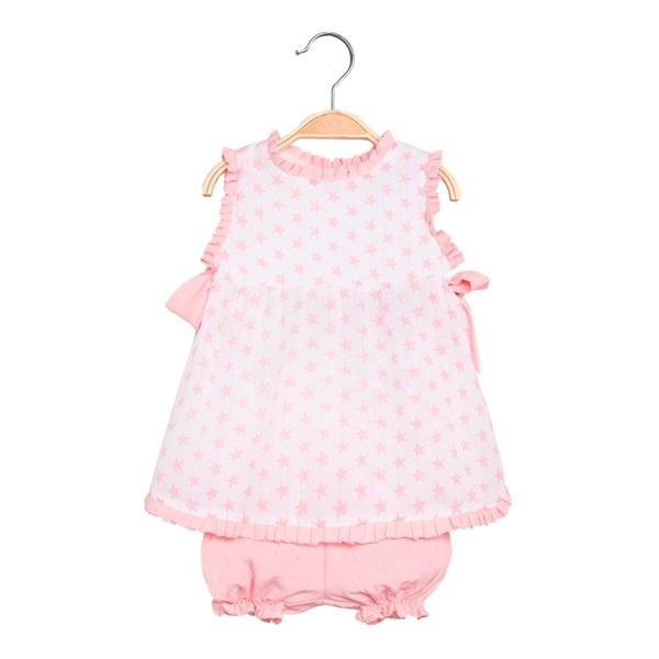 Imagen de Vestido de bebé niña con print de estrellas rosa y pololo