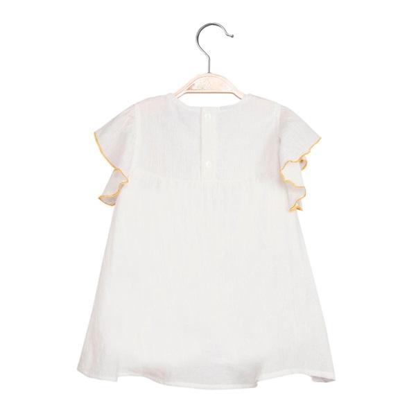 Image de Vestido de bebé niña en blanco con bordado