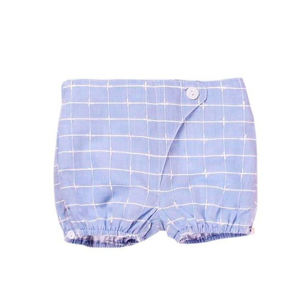 Image de Short de recién nacido azul de cuadros tipo bombacho